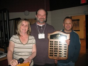 Bird of the Year winner, Rob Dobos (middle), pictured with his birding buddies Cheryl Edgecombe (left) and Dave Don. Photo by Michael Rowlands.