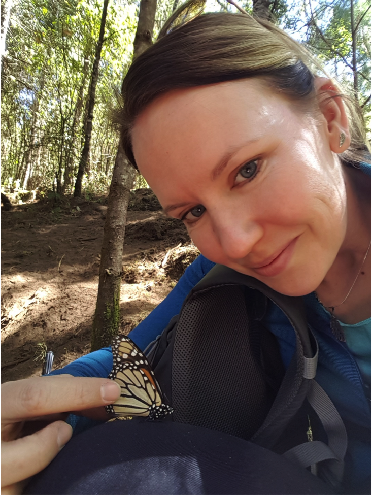 Jessica Linton and a butterfly